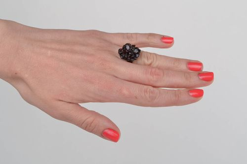 Beautiful handmade womens ring on metal basis with natural garnet stone - MADEheart.com