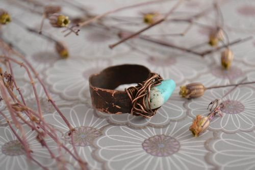 Beautiful ring handmade jewelry wire wrap turquoise ring women designer gift - MADEheart.com