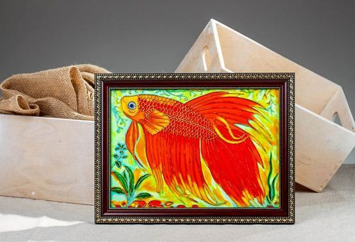 Stained glass picture Golden fish - MADEheart.com