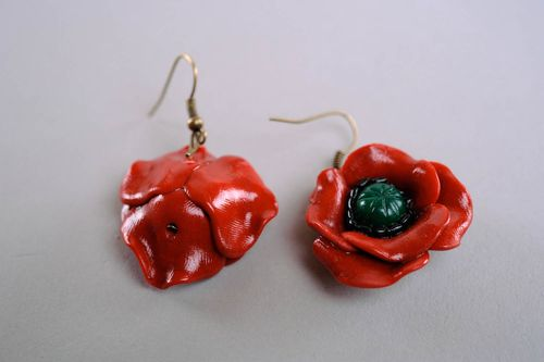 Earrings made ​​of polymer clay Poppies - MADEheart.com