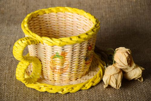 Handmade woven paper basket woven paper box design newspaper craft gift ideas - MADEheart.com