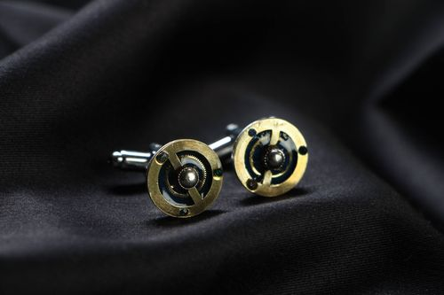 Metal cuff links in steampunk style - MADEheart.com