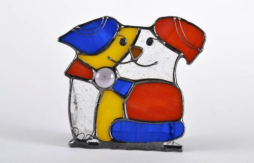 Stained glass candlestick Puppy - MADEheart.com
