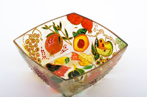 Beautiful handmade glass fruit bowl glass ware kitchen supplies small gifts - MADEheart.com