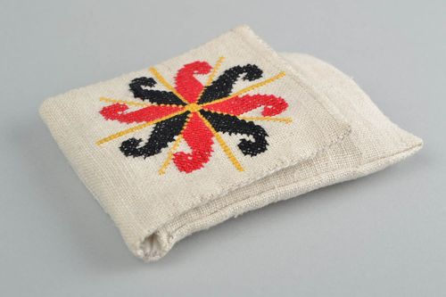 Unusual handmade textile case for cell phone with embroidery - MADEheart.com