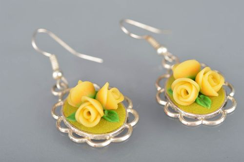 Polymer clay handmade designer yellow earrings with flowers summer accessory - MADEheart.com
