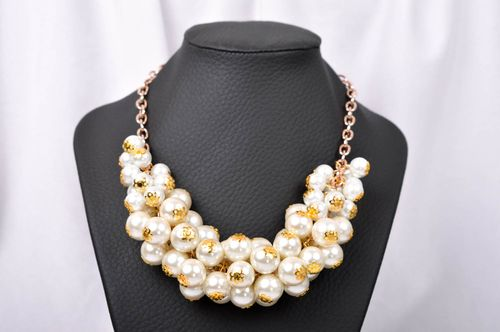 Handmade elegant massive necklace stylish beaded necklace unusual jewelry - MADEheart.com