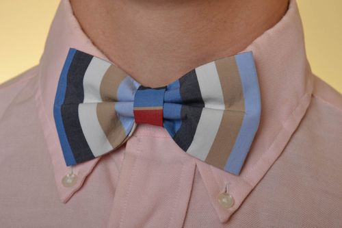 Handmade designer striped textile bow tie for men and women - MADEheart.com