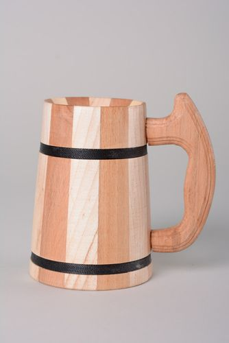 Handmade eco friendly wooden beer mug for home decor - MADEheart.com