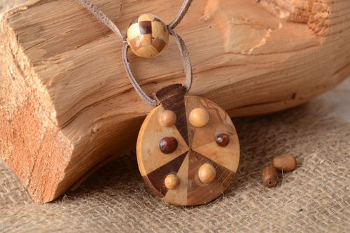Handmade round neck pendant carved of wood and decorated with intarsia for women - MADEheart.com