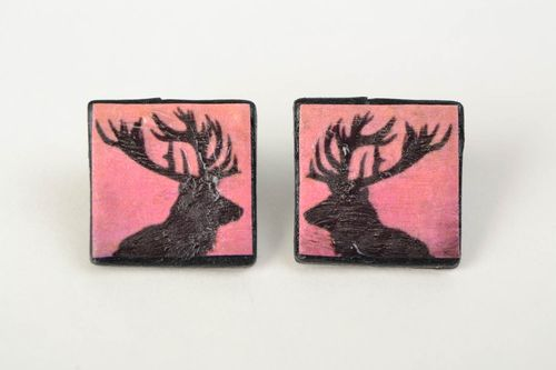 Handmade square earrings with deer print made of polymer clay stylish accessory - MADEheart.com