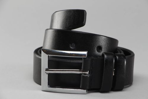 Black leather mens belt - MADEheart.com