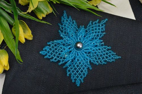 Fashion brooch handmade jewelry blue designer brooch beaded brooch for girls - MADEheart.com