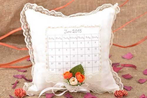 Handmade designer ring pillow sewn of cotton fabric with calendar and lace - MADEheart.com