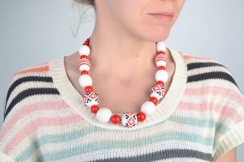 Unusual beautiful handmade designer textile bead necklace in ethnic style - MADEheart.com