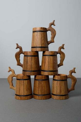 Set of wooden beer mugs - MADEheart.com