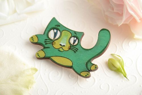 Beautiful handmade childrens painted plywood brooch designer Kitten - MADEheart.com