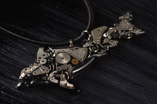 Unusual handmade metal pendant steampunk style jewelry designs gift ideas - MADEheart.com