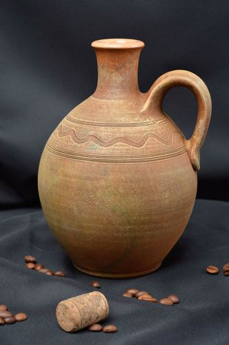 Capacious handmade ceramic jug clay jug with handle decorative tableware ideas - MADEheart.com