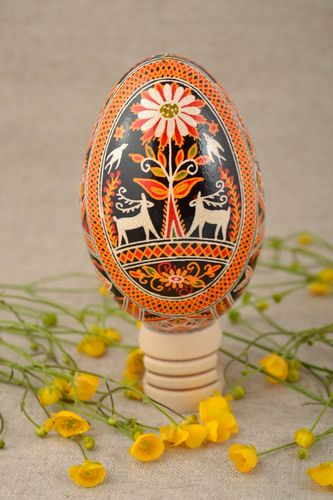 Beautiful painted Easter goose egg for interior decor home charm - MADEheart.com