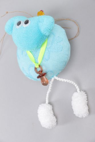 Handmade interior soft toy sewn of velor and cotton with eyelet Blue Lamb  - MADEheart.com