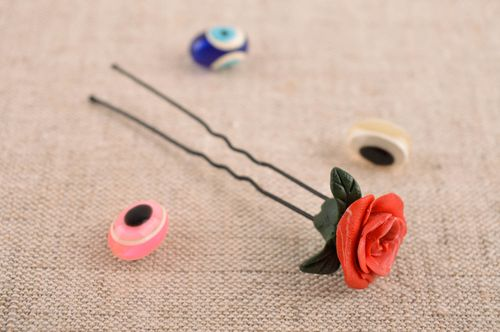 Handmade hair pin unusual hair pin with flower clay hair pin designer accessory - MADEheart.com