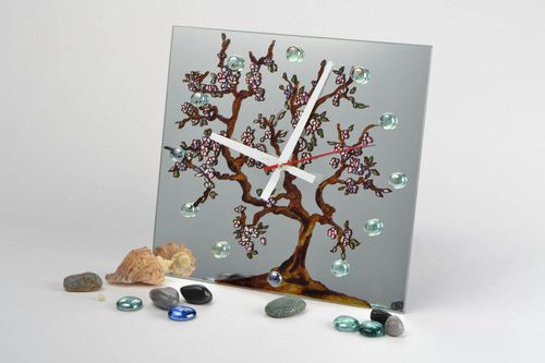 Handmade designer square glass wall clock with stained glass painting Tree - MADEheart.com