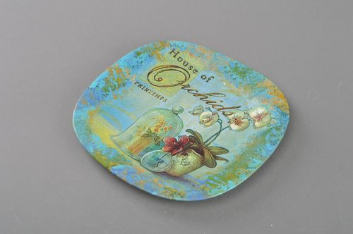 Handmade designer glass wall hanging plate with decoupage home decor Morning - MADEheart.com