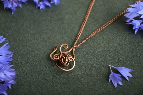 Beautiful stylish handmade wire wrap copper pendant unusual designer jewelry - MADEheart.com