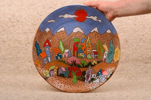 Beautiful handmade ceramic wall plate painted decorative clay plate gift ideas - MADEheart.com