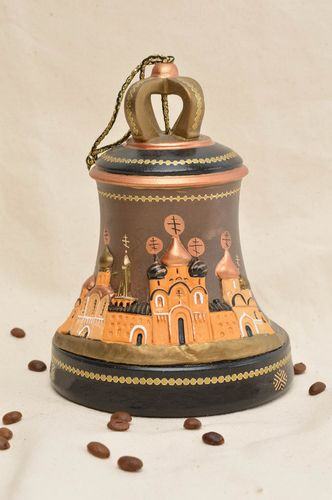 Handmade ceramic interior bell painted clay bell pottery works gift ideas - MADEheart.com