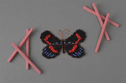 Handmade fridge magnet beaded decorative kitchen element beaded butterfly - MADEheart.com