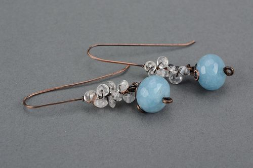 Earrings with aquamarine, wire wrap - MADEheart.com