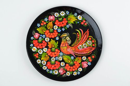 Designer wooden plate handmade Petrykivka painting interior decoration wall dish - MADEheart.com