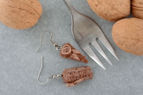 Polymer clay earrings Chocolate Cake - MADEheart.com