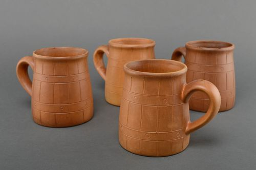 Set of ceramic mugs kilned with milk 4 items 1.2 l - MADEheart.com