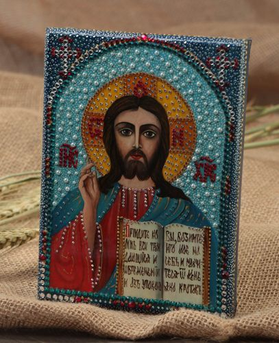 Handmade beautiful icon painted with gouache on wooden basis with rhinestones - MADEheart.com