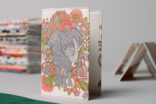 Homemade leather passport cover with Indian elephant print - MADEheart.com