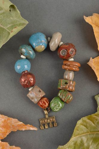 Unusual handmade clay bracelet ceramic bead bracelet accessories for girls - MADEheart.com
