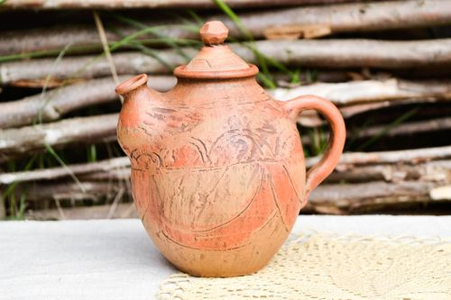 Handmade clay teapot ceramic teapot eco friendly tableware kitchen pottery - MADEheart.com