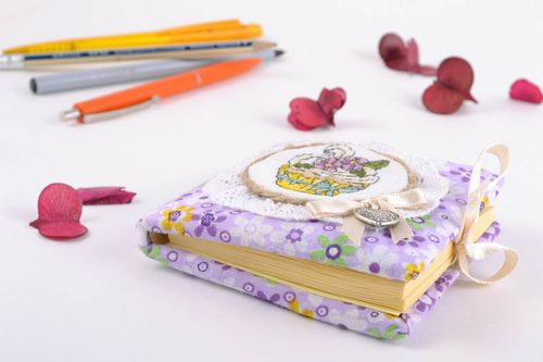 Notebook with embroidered fabric cover - MADEheart.com
