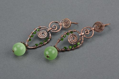 Copper earrings with cats eye, wire wrap - MADEheart.com
