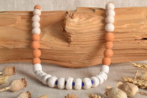 Ethnic clay bead necklace - MADEheart.com