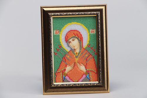 Handmade home icon of the Mother of God embroidered with Czech beads for present - MADEheart.com