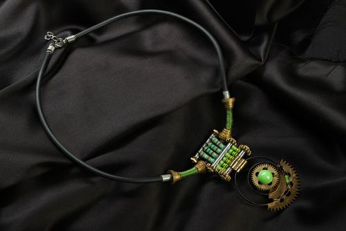 Steampunk necklace with mechanisms - MADEheart.com