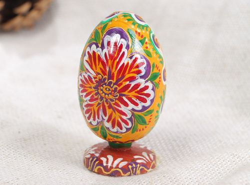 Handmade decorative Easter egg painted with bright floral ornaments Life Blossom - MADEheart.com