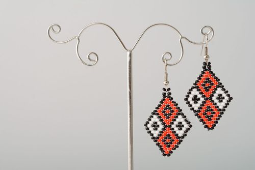 Beaded earrings Rhombus - MADEheart.com