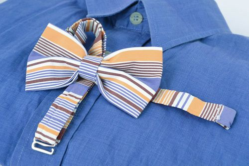 Striped fabric bow tie - MADEheart.com