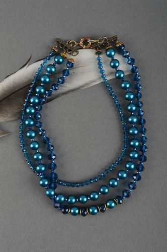 Handmade unique blue pearl beaded necklace designer bijouterie present for woman - MADEheart.com