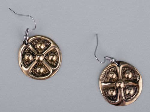 Metal earrings Sign of the Sun and the Earth with gilding - MADEheart.com